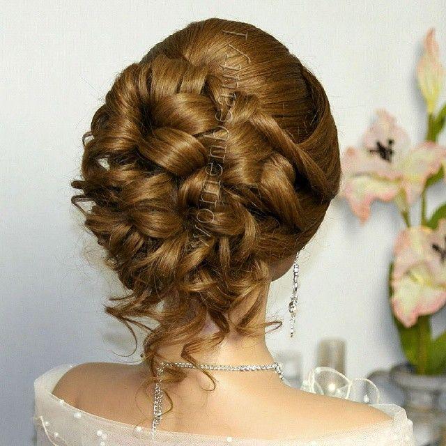 #Hairstyles for #medium #long #hair. #Bridal prom updo . #Прическа на #выпускной, #свадебная #прическа.  Watch the video tutorial here : Http://youtu.be/CsG4swLegac