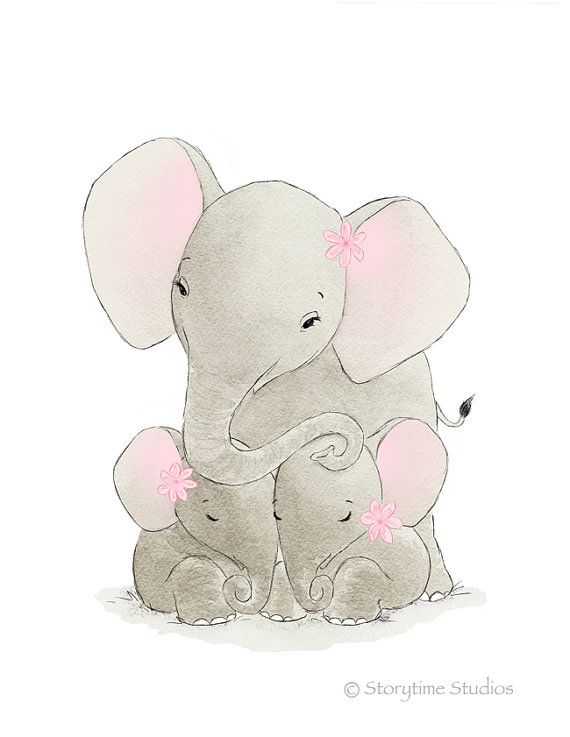 Nursery Art Elephant Twin Girls Elephants por StorytimeStudios