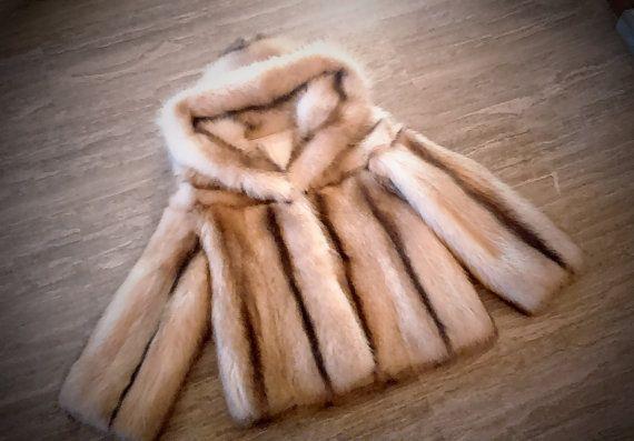 Fur Jacket/ Real fur/ Canadian Raccoon fur/ Gold-White color