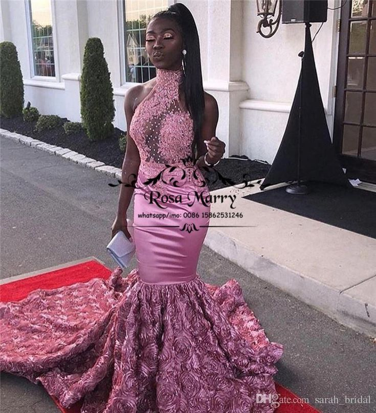 Pink 3D Floral Mermaid African Prom Dresses 2K19 High Neck Lace Appliques Sequined Beaded Plus Size 2019 Girls Pageant Formal Evening Gowns 2K19 Prom ...