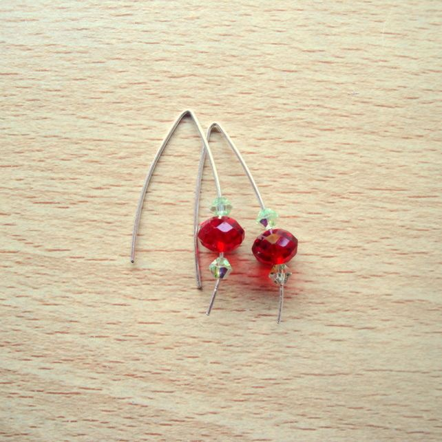 Sterling Silver with Red & Green Swarovski Crystals Earrings