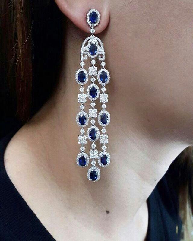 @pjgrp. Beautiful Diamond &Blue Sapphire Chandelier Earrings by @pjgrp . Only the best @pjgrp #diamondearring