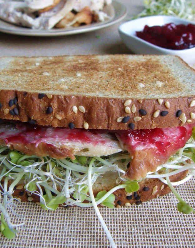 La combinación de rebanadas de pavo, germen de alfalfa y salsa de arándano es de lo más fresca.