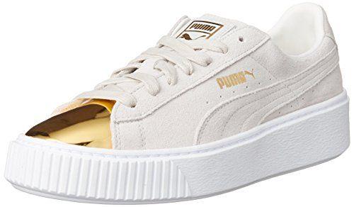 PUMA Suede Platform Gold Damen Sneaker, Weiß white