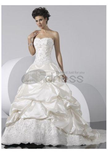Abiti da Sposa Senza Spalline-Con abiti da sposa senza spalline chiusura corsetto