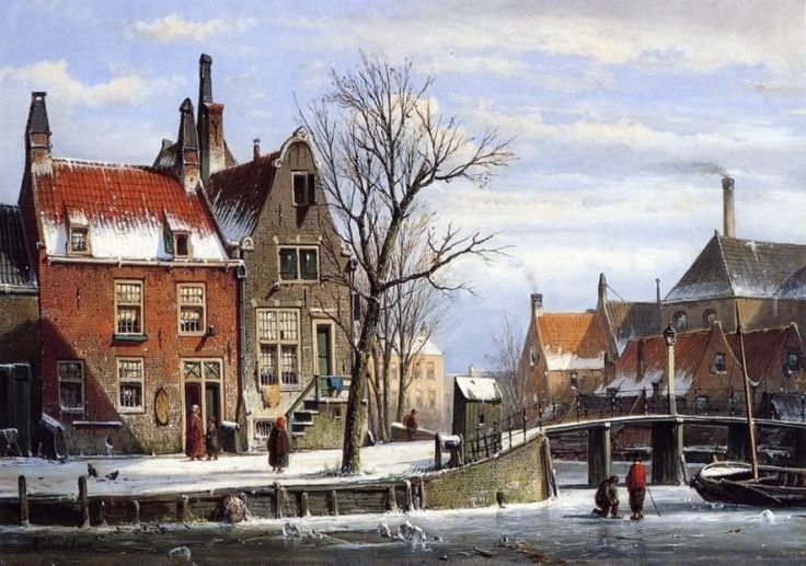Willem Koekkoek (1839-1895)  —  A View in a Town in Winter with Skatersona Frozen Canal  (562x799)