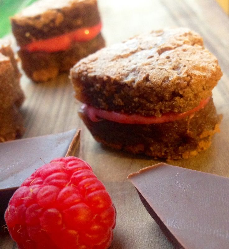 Brownie Hearts with Raspberry Filling - Pin It
