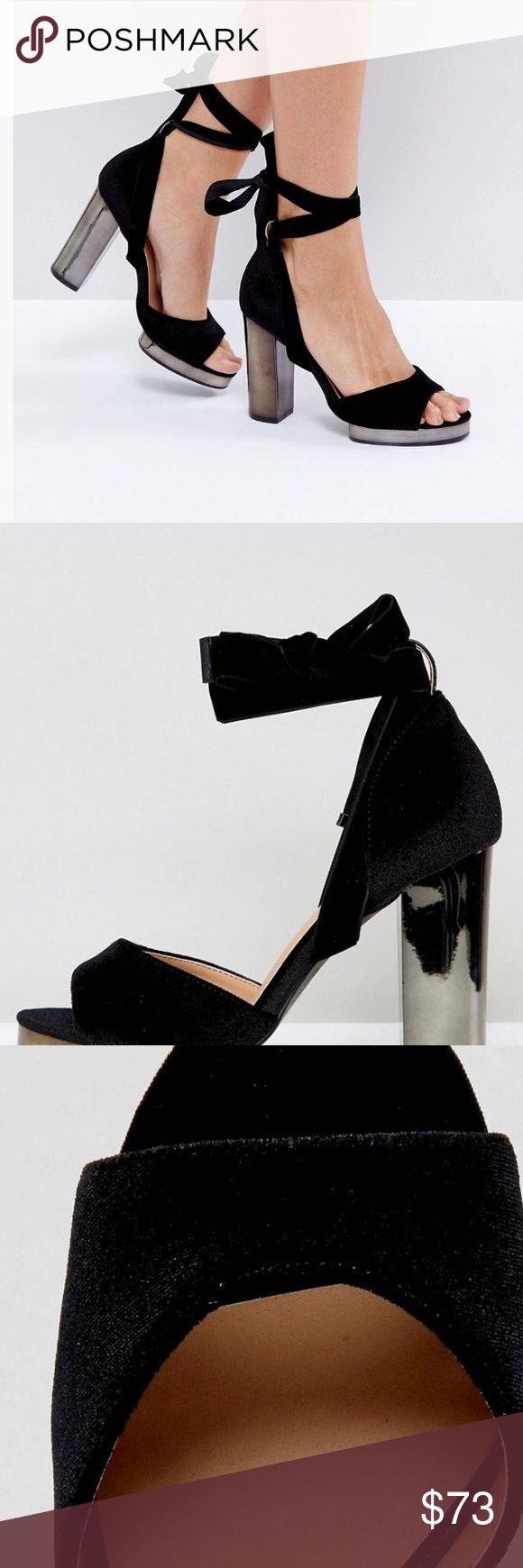 "💕Truffle Collection Slim Tie Up Platform Sandals Sandals by Truffle Textile upper Tie fastening Peep toe Block high heel Platform sole Wipe clean 100% Textile Upper Heel height: 10.3cm/4"" Shoes Sandals"
