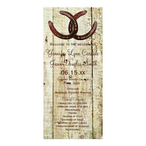 Rustic Country Horseshoe Barn Wood Wedding Program