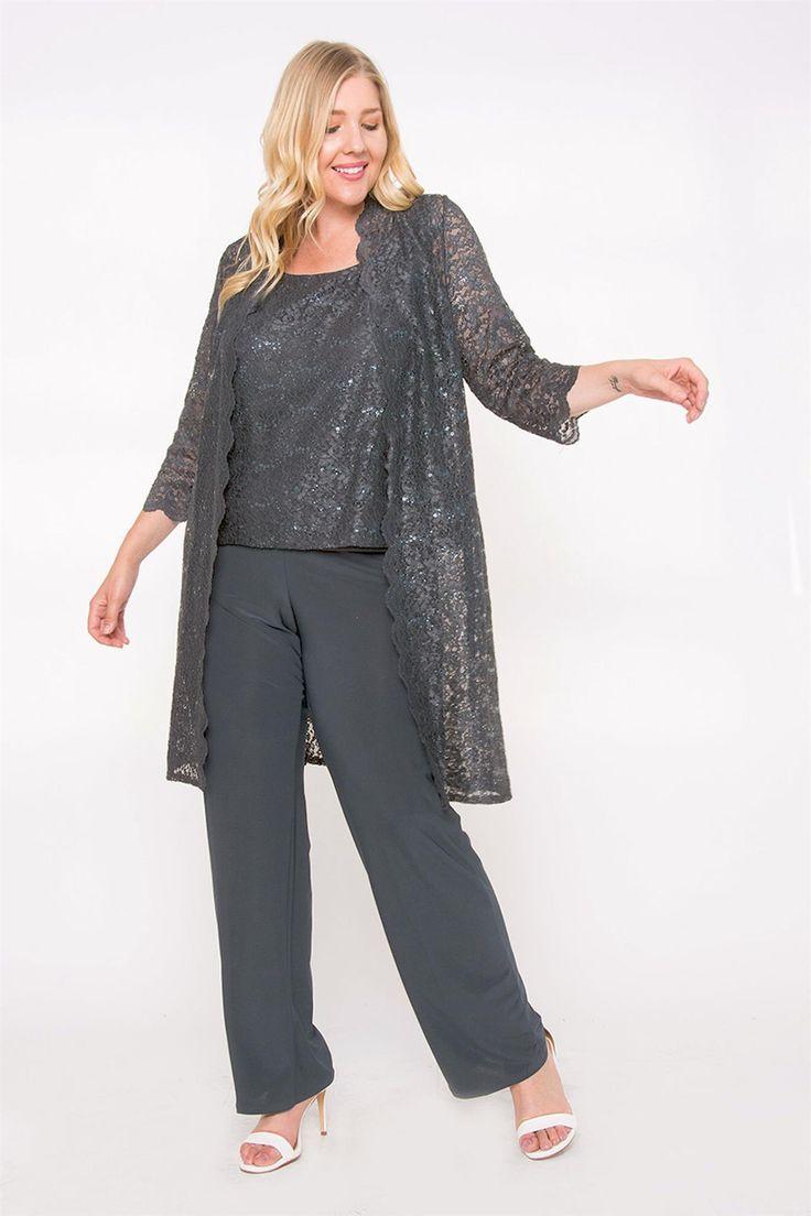 R&M Richards Plus Size Mother of the Bride Pant Suit Duster Jacket 3