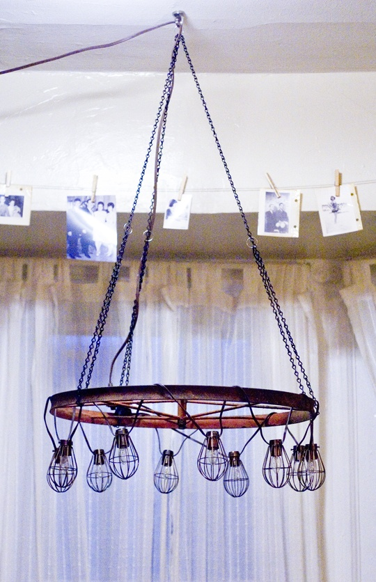 How To Chandelier Using String Lights Vintage Wagon