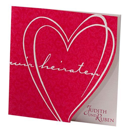 """Diese modernen Hochzeitseinladungen bestechen durch einen exklusiven Auftritt in der Trendfarbe """"Rot"""". Hergestellt wurden diese modernen Hochzeitseinladungen aus einem herrlich schimmernden Premiumkarton, der mit einer Folienprägung veredelt wurde. Online bestellen - nur bei uns! top-kartenlieferant"""