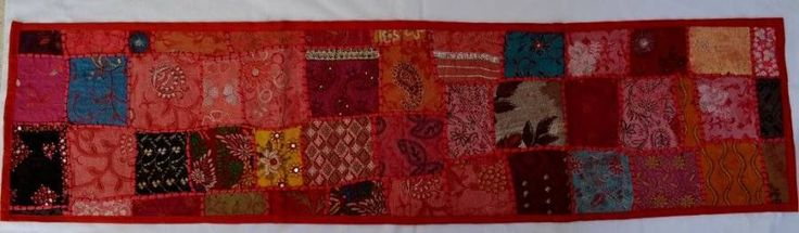 Indian Sari Table Runner/Wall Hanging - Red 142cm x 36cm vintage bohemian ethnic $36.98