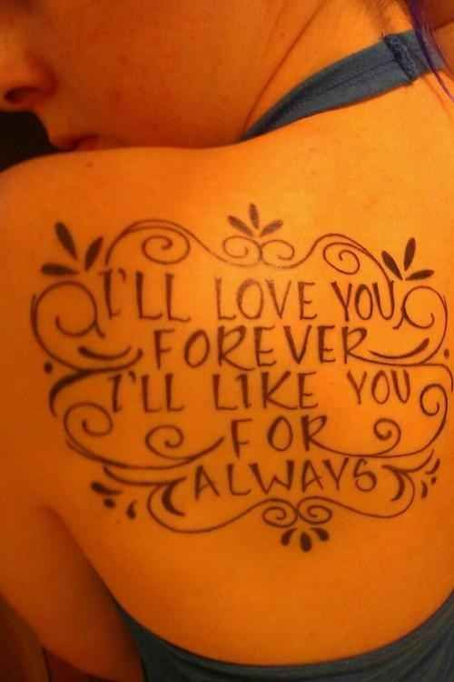 """Maybe I should get this tattooed on my back for  my """"children"""". It would certainly remind me of their childhood, cause it makes me cry every time!"""