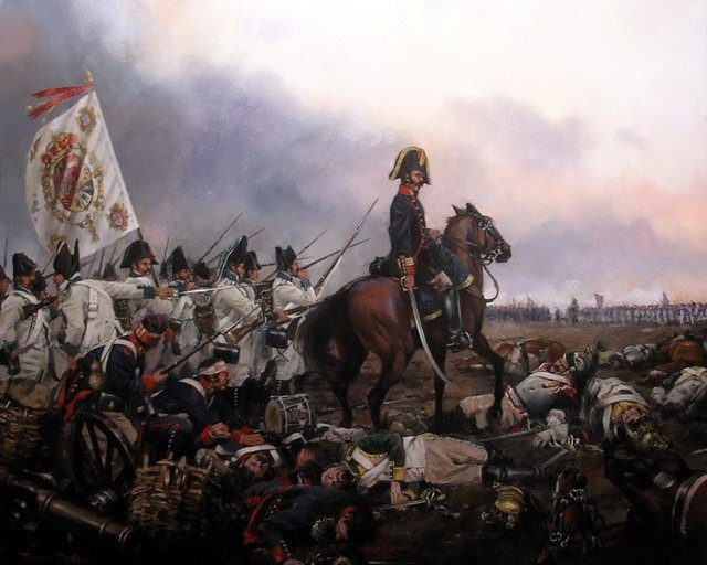 The last action of the Battle of Bailen (July 19, 1808): To the left the white uniform troops of Ceuta's Fixed Regiment with their Colonel & flag in the wind. Joining them the blue uniformed, Spanish gunners. In the center a colonel of artillery on his horse.