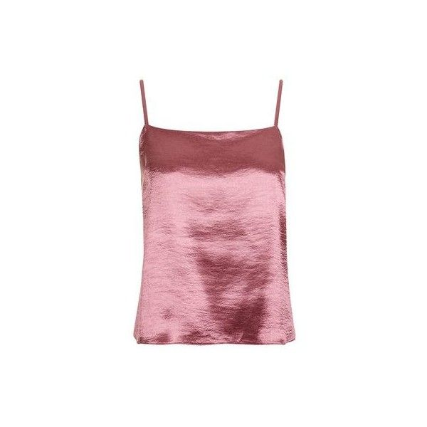 Satin Cami Top by Nobody's Child ($17) ❤ liked on Polyvore featuring tops, pink, satin cami, red top, red tank top, pink top and satin camisole