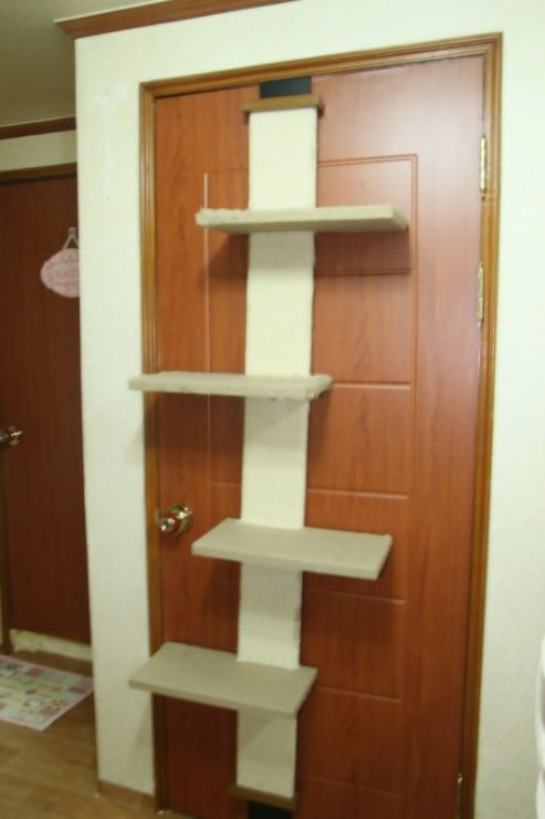 cat tower idea of all shelves fixed to main plank then plank fixed to wall... Less holes in wall.