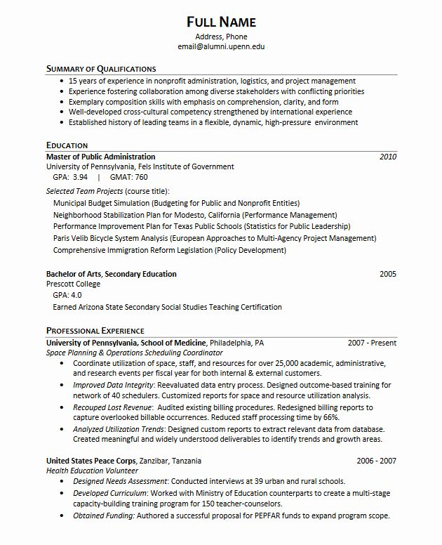 Phd Industry Resume Example Best Of Career Services At The University Of Pennsylvania In 2020 Student Resume Education Resume Sample Resume