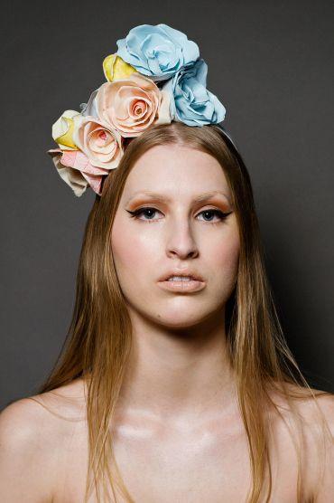 Headwear consisting of silk flowers mounted on a headband   Mary Franck   Spring/Summer 2012