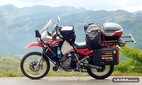 Kawasaki KLR 650 motorcycle loaded