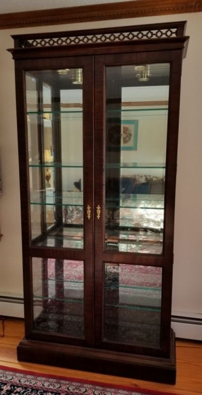 Dark Stained Hardwood Gl Front Side Lighted Curio Cabinet 38