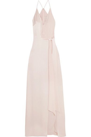 I'M BLUSHING: EXCLUSIVE AT NET-A-PORTER.COM. Halston Heritage's gown is an elegant choice for evening events or modern brides. Cut from fluid baby-pink satin, this floor-sweeping style has a generous front split, racer-back and waist-cinching tie. Highlight the flattering V-neckline with a relaxed chignon.