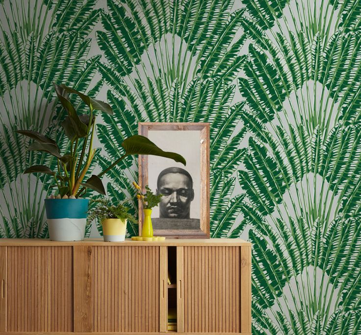 An elegant and primal tropical FEATHER PALM (aloha) wallpaper is versatile in design such as creating a luxury resort interior or sophisticated yet causal Hampton look. Our Feather Palm design will transform any interior into a leafy tropical paradise. #wallpaper #tropical #resort #hampton #palmtree #interior #greenwallpaper #jungle