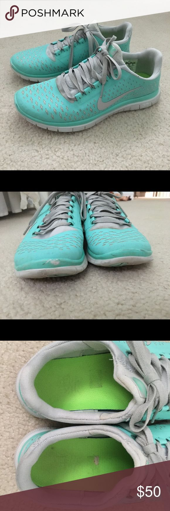 Nike Tiffany Blue Frees 3.0 Rare Sz8 Size 8 Tiffany Blue Free Runs. I've worn them a few times, only to run in. They're super comfy just not my size! The exterior look brand new. The bottoms haven't been worn down, they're still good to run in and still have traction. I love the color and look, they're just too small. Nike Shoes Sneakers