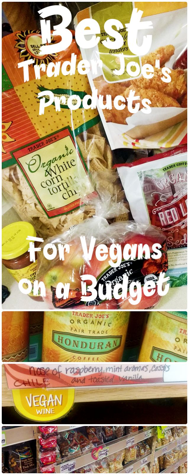 The Best Trader Joe's Products for Vegans on a Budget! If you're looking for budget-friendly vegan staples then you need to head over to your local Trader Joe's. They have everything from cheap organic tofu, cheap raw cashews, vegan wine, and more. Click here to read about my favorite vegan foods from Trader Joe's <3