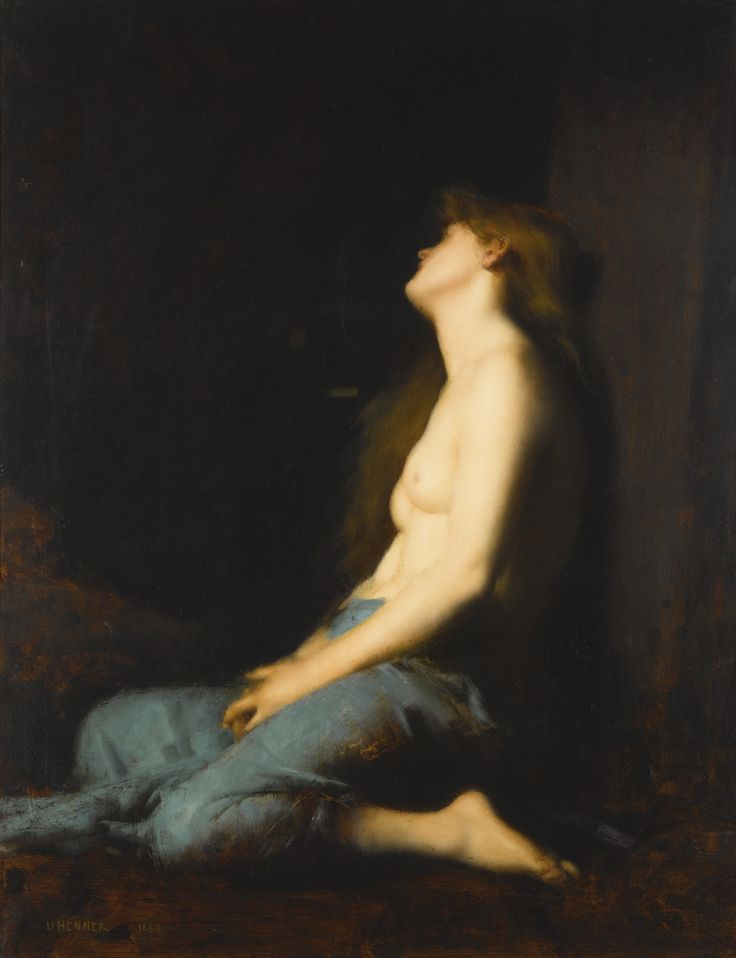 Jean Jacques Henner 1829 - 1905 FRENCH LA MAGDELEINE signed and dated J.J. HENNER 1880 lower left oil on canvas 122.5 by 94.5cm., 48¼ by 37¼in: