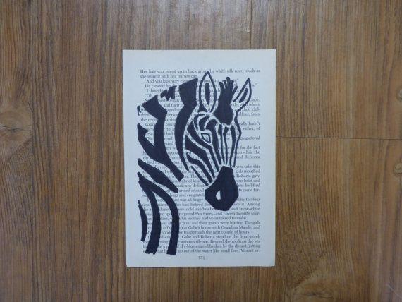 Zebra Drawing on Book Page by JessieCarterCrafts on Etsy