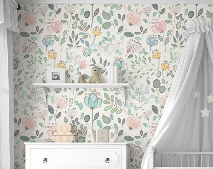 Whimsy Floral Mural Traditional Or Removable Wallpaper Vinyl Free Non Toxic Removable Wallpaper Mural Girl Room