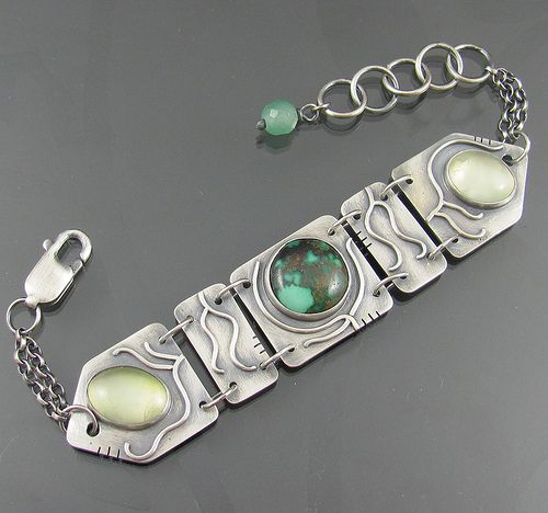 sterling silver, prehnite and turquoise vine bracelet by nrjewellerydesign - www.etsy.com/shop/NRjewellerydesign