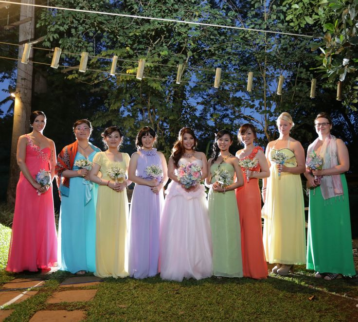 Rainbow Bridesmaids Dresses Pastel Colour Wedding Theme
