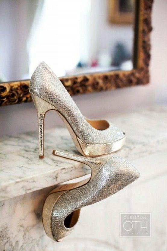 www.weddbook.com everything about wedding ♥ Jimmy Choo Sparkly Wedding High Heels #wedding #shoes #glitter #sparkle #silver #gold #jimmychoo