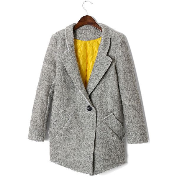 One Button Boyfriend Blazer in Grey (1 980 UAH) ❤ liked on Polyvore featuring outerwear, jackets, blazers, coats, blazer, chicwish, one button blazer, grey boyfriend blazer, one button jacket and gray blazer