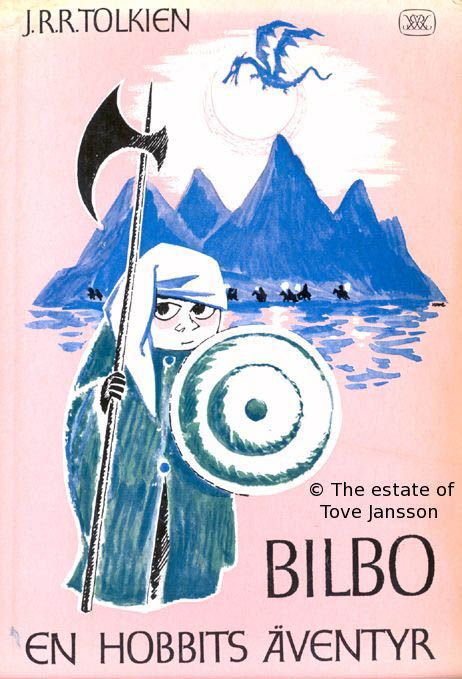 """tzb33: """"Tove Jansson's glorious illustrations for The Hobbit. Note the giant Gollum, waist-deep in his pool… More here. """""""
