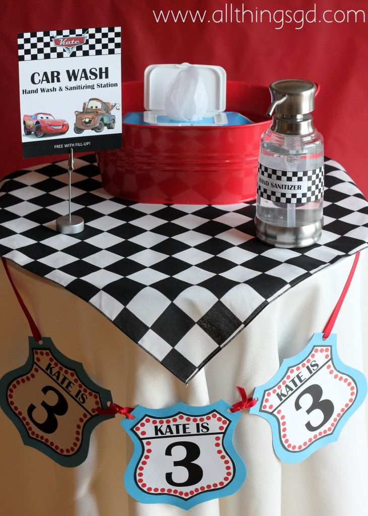 """""""Car Wash - Free with Fill-Up!""""  Wipes and hand sanitizer set out for kids to wash up after eating!  (Kate's Cars-Themed Birthday Party)"""