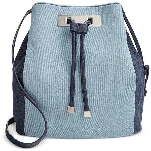Inc International Concepts Modie Denim Drawstring Bag, (355 BRL) ❤ liked on Polyvore featuring bags, handbags, shoulder bags, blue denim, denim purse, blue handbags, blue purse, drawstring bucket bag and drawstring bag