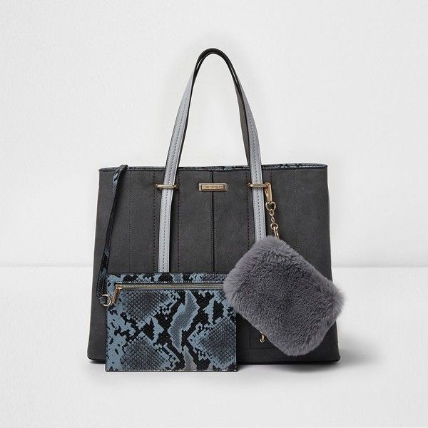 River Island Grey large tote bag and snakeskin pouchette (€68) ❤ liked on Polyvore featuring bags, handbags, tote bags, bags / purses, grey, shopper & tote bags, women, shopper tote bag, grey tote and hand bags