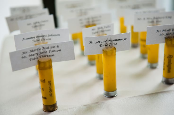 shotgun shell place cards-hunting themed wedding