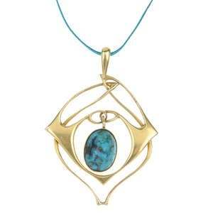 LIBERTY & CO. - a gold turquoise pendant, designed by Archibald Knox.