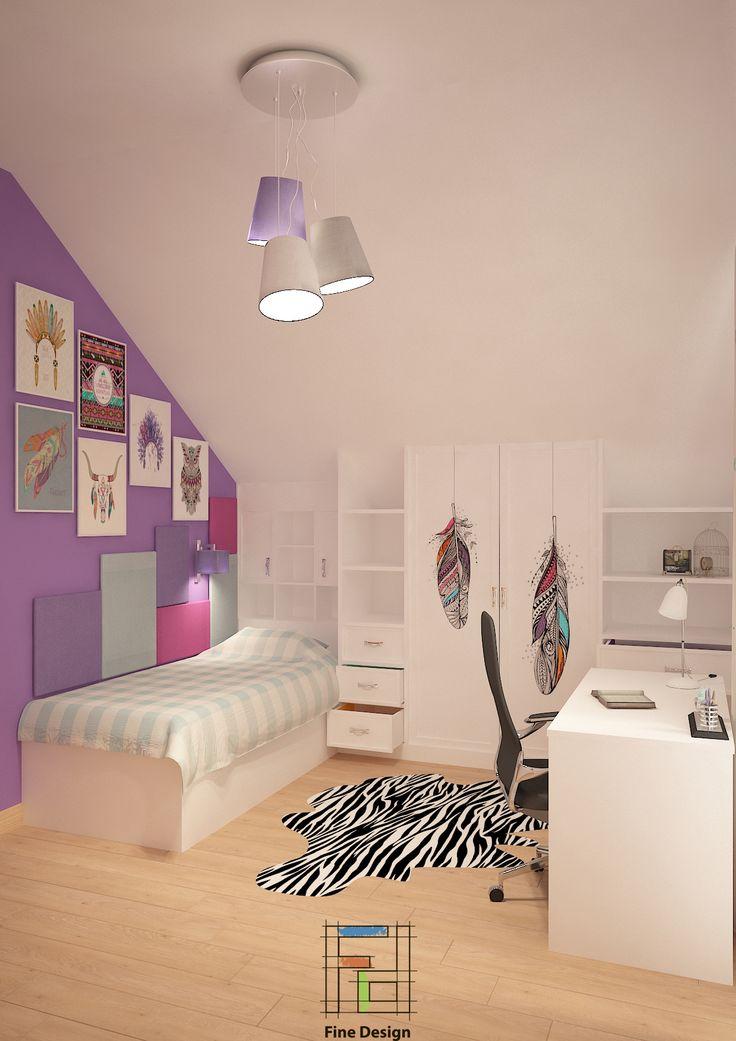 Дизайн-проект комнаты для юной девушки (3D визуализация).