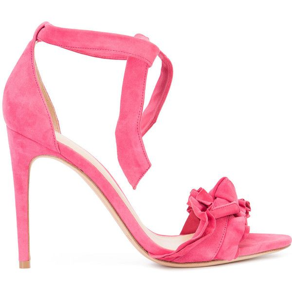 Alexandre Birman Ankle Tie Sandal ($625) ❤ liked on Polyvore featuring shoes, sandals, pink, ankle strap heel sandals, leather ankle wrap sandals, leather heeled sandals, alexandre birman sandals and pink shoes