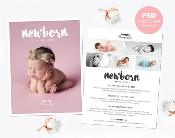 Pricing template. Newborn photography price list. Marketing & advertising template pricing guide. Fully editable Photoshop PSD files. PLT16