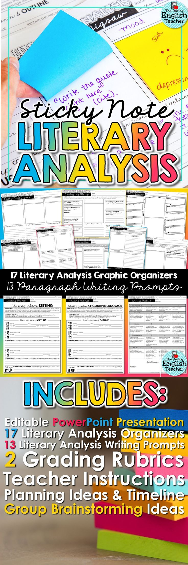 Engage your students in an interactive and hands-on literary analysis unit with sticky notes! Ideal for the middle school and high school English class, this unit will help students read the text more closely while also preparing them to write thoughtful and thorough literary analysis responses.