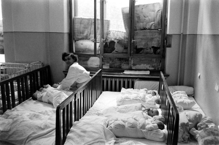 Scene in a hospital during the Hungarian Revolution, 1956.