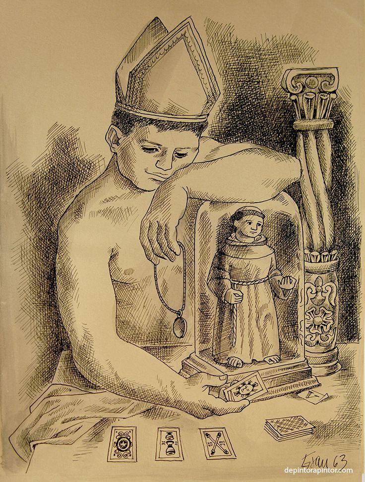 El Papa , Enrique Grau, tinta/papel