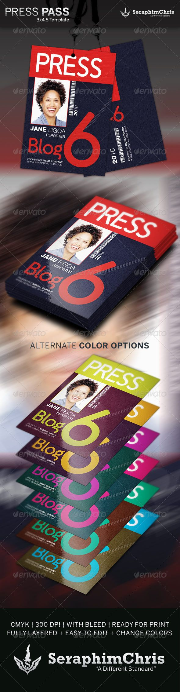 Press pass template 2 colors make your own and make your for Media press pass template