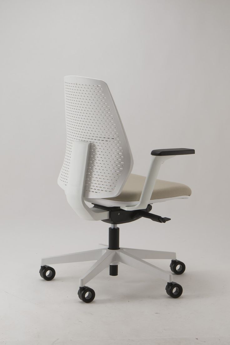 Still life of Ologram operative chair. White or black polypropylene backrest.